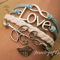 infinityloveleaf&amp;bird braceletinfinity by jewelryofhome on Etsy