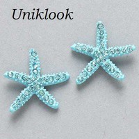 CLEARANCE Aquamarine Adorable Crystal Pave Starfish Trendy Earrings Jewelry