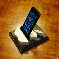 "The ""Silver Apple"" hand-crafted custom wooden docking stand for iPhone, iPod, iPad mini"