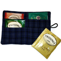 Mens Plaid Travel Tea Wallet Tea Caddy Man Gift Idea