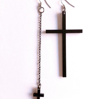 giant and small cross earrings by superwicked on Etsy