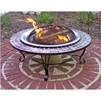 Asia Direct 40-Inch Round Glass Mosaic Fire Table with FREE Cover, Tile & Stone