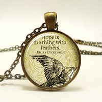Emily Dickinson Necklace, Hope Is The Thing With Feathers, Bronze (0374B1IN)