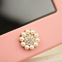 1 pcs  Bling Crystal Circle Pearl  iPhone Home Button Sticker for iPhone 4,4s,4g, iPhone 5, iPad, Cell Phone Charm
