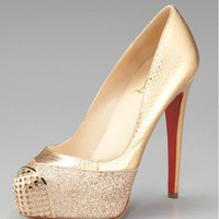 Christian Louboutin Maggie Glitter & Snake Platform Pump [2011121502] - $186.00 : Christian Louboutin Shoes Sale, Enjoy 77% Off On Designer Outlet