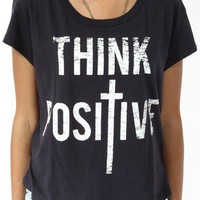 Think Positive Split Hem Tee | FOREVER 21 - 2019572158