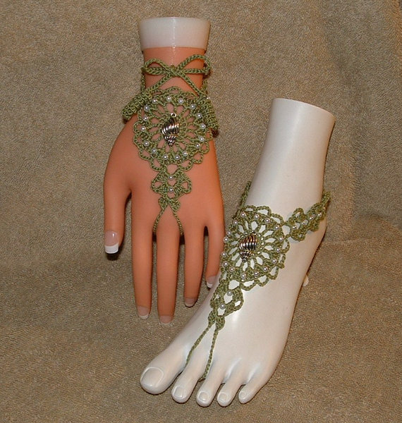 Crochet Barefoot Sandals Sea Shell Bracelet Rings Footless Beachwear