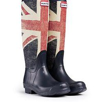 HUNTER ORIGINAL BRIT TALL DARK NAVY WELLINGTON BOOTS  Welly Union Jack Blue