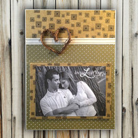 READY TO SHIP - Twig Heart Frame - 9x12 Base With 5x7 Horizontal Magnetic Photo Holder - Wall or Tabletop Decor