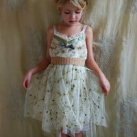 Little Girls Clover Slip Dress... size 6-8... Flowergirl Fairy Tea Party Whimsical Vintage Boho Shabby Chic