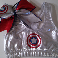 Cap&#x27;n Am Super Hero Metallic Sports Bra and Bow Set