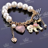 Lovely Elephant Faux Pearl Bowknot Heart Dangle Beads Charms Fashion Bracelet