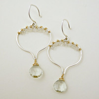 quartz and green amethyst earrings - sterling silver and 14k gold filled - unique earrings - artisan jewelry - chandelier earrings
