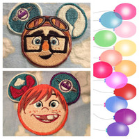 Disney Pixars Up Inspired Carl and Ellie Mouse Ears Embroidered Sew On Patch.