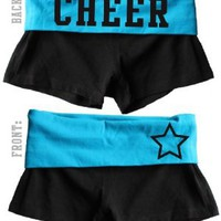 Juniors Two Tone Fold Over Cheer Spandex Shorts Pink or Turquoise:Amazon:Clothing
