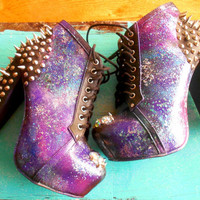 Intergalactic Planetary Spiked Booties Space Heels