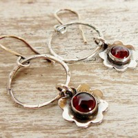 Garnet Flower Earrings On a Hoop Deep Red Almandine Garnet