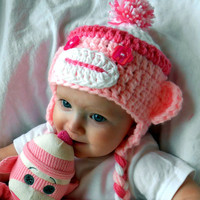 Toddler Hat Monkey Hats Sock Monkeys Pink Cap Kids Clothes Baby Hats Girls Clothes White Crochet Baby Monkey Hat
