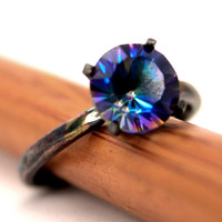 Quartz Ring in Silver,  Magic Blue Solitaire Ring with Blackened Sterling Silver 4 Prong Setting