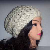 Slouchy Beanie Knitted Hat in cream with a twisted design, womans Accessories