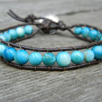 Beaded Single Wrap Bracelet with Turquoise Beads on Brown Leather