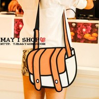 Cute 2D Women Cartoon Canvas Messenger Bag - Orange from The Gadget Gifts