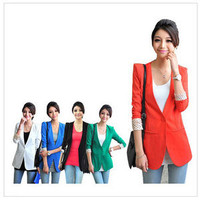Celebrity Style Candy Color Women Basic Slim Foldable OL Suit Blazer Jacket