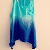 Size Large Blue Dip-Dyed Racerback Tank
