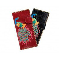 Embroidered Peacock Wallet
