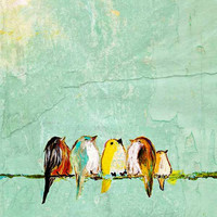 We Are the World, We Are the Children (11x14 baby birds on wire extra large size print)