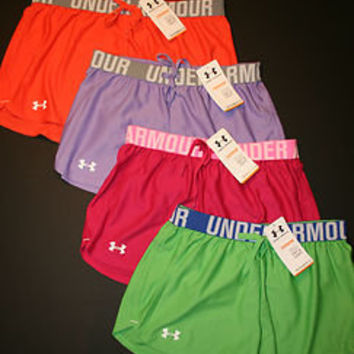 "Under Armour Women's Play Up 3"" Shorts 1228385 Orange Pink Purple Green New"