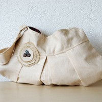 Aleina Pleated Linen  Bag in Beige Lithuanian Linen by iragrant