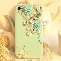 iphone 4 case, crystal iphone 4s case iphone cover skin iphone 5 cover case - flowers crystal iphone 5 case
