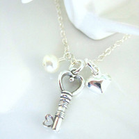 Sterling silver key to my heart mini necklace