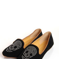 Alouissa Black Studded Skull Suedette Slipper Shoe