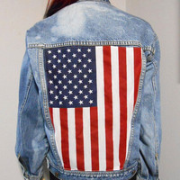 Vintage Studded American Flag Style Denim Jacket  Womens M-L