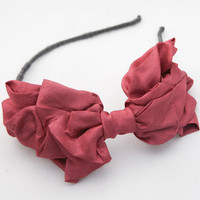 Big tucked magenta bow headband by BeSomethingNew on Etsy