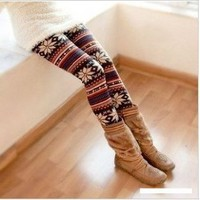 Amazon.com: Multi-Colored Women&#x27;s Soft Knitted Stripe Snowflakes Leggings Tights Gift W011: Toys &amp; Games