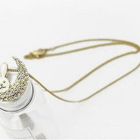 White Rabbit&Czech Rhinestone Crescent Long Chain Necklace at Online Fashion Jewelry Store Gofavor