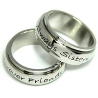 Couples Ring (Two Rings) Always Sisters Stainless Steel Spinner Ring. Size 6-9: Jewelry: Amazon.com