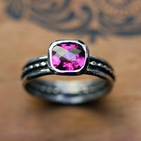 Pink tourmaline ring - square cushion stack ring - oxidized recycled sterling silver size 7 - Raspberry crush