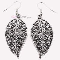 Vintage Silver Tone Leaf Filigree Dangle Earrings at Online Cheap Vintage Jewelry Store Gofavor