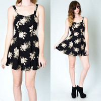 Vintage 90s GRUNGE Rose Print Floral REVIVAL Mini Dolly Dress XS Black