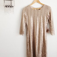 Champagne Scalloped Sequin Dress Size 2-4