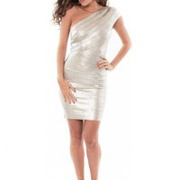 Bqueen Single Shoulder Silver Dress H108S