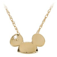 14-Kt. Gold and Diamond Mickey Mouse Ears Hat Necklace from the Disney Dream Collection | Accessories | Women | Not CYO | Disney Store