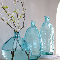 Turquoise Glass Vases - Horchow
