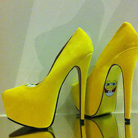 SPONGEBOB Yellow Platform Heels 5 38 Bordello Burlesque MADEMOISELLE BOUTIQUE