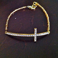 Gold Sideways Cross Beaded Bracelet