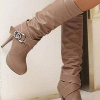 Double Strap Buckle High Heel Knee Boots in BROWN from MooChooShu